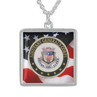 [200] AG Corps Regimental Insignia [3D] Square Pendant Necklace