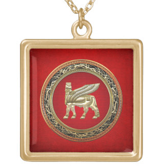 [200] Babylonian Winged Bull Lamassu [3D] Gold Plated Necklace