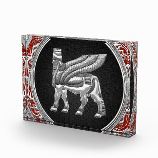 [200] Babylonian Winged Bull [Silver] [3D] Acrylic Award
