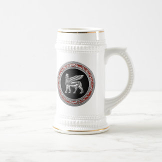 [200] Babylonian Winged Bull [Silver] [3D] Beer Stein
