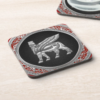 [200] Babylonian Winged Bull [Silver] [3D] Beverage Coaster
