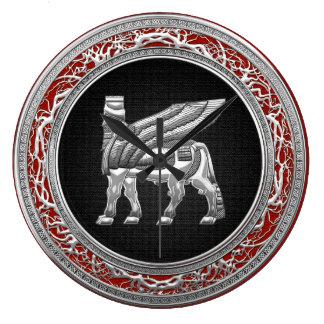 [200] Babylonian Winged Bull [Silver] [3D] Clock