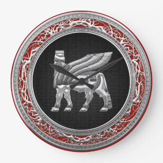 [200] Babylonian Winged Bull [Silver] [3D] Large Clock