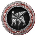 [200] Bull coa alas babilónico [plata] [3D] Reloj