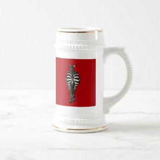 [200] Cebra: Vista posterior en rojo Taza De Café