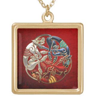 [200] Celtic Sacred Art - Three Dogs Square Pendant Necklace