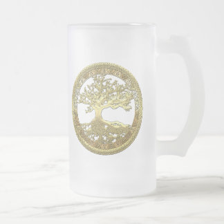 [200] Celtic Tree of Life [Gold] Frosted Glass Beer Mug