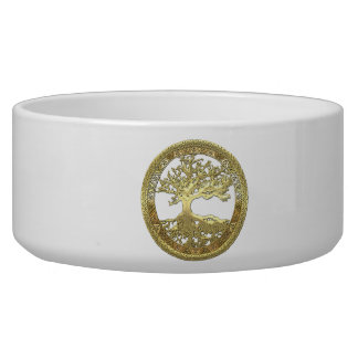 200 Celtic Tree of Life Gold Pet Food Bowl