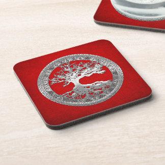 [200] Celtic Tree of Life [Silver] Beverage Coaster