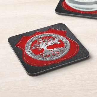 [200] Celtic Tree of Life [Silver] Beverage Coasters