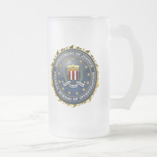[200] FBI Special Edition 16 Oz Frosted Glass Beer Mug