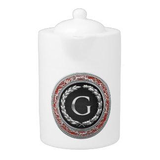 "[200] ""G"" Silver Vintage Monogram Teapot"