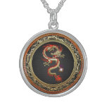 [200] Golden Chinese Dragon Fucanglong Round Pendant Necklace