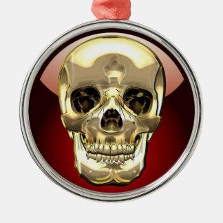 [200] Golden Human Skull Metal Ornament