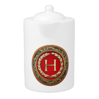 "[200] ""H"" Gold Vintage Monogram Teapot"