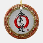 [200] Japanese calligraphy - Aikido Double-Sided Ceramic Round Christmas Ornament