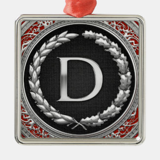 """[200] monograma de plata del vintage de """"D"""" Adorno De Navidad"""