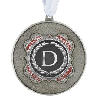 """[200] monograma de plata del vintage de """"D"""" Adorno Ondulado"""