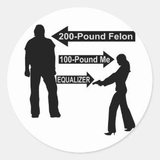 200 Pound Felon, 100 Pound Me, My Gun The Equalize Classic Round Sticker