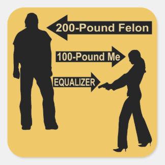 200 Pound Felon, 100 Pound Me, My Gun The Equalize Square Sticker