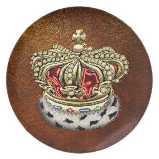 200 Prince King Royal Crown Fur+Gold Red Plates