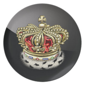 200 Prince King Royal Crown Fur+Gold Red Party Plate