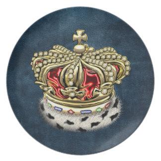 200 Prince King Royal Crown Fur+Gold Red Dinner Plate
