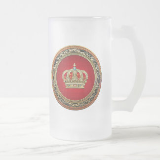 [200] Prince-Princess King-Queen Crown [Belg.Gold] Frosted Glass Beer Mug