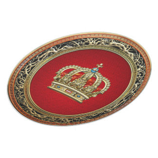 200 Prince-Princess King-Queen Crown Belg Gold Party Plates