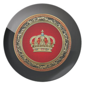 200 Prince-Princess King-Queen Crown Belg Gold Party Plate