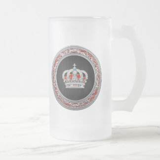 [200] Prince-Princess King-Queen Crown [Silver] Frosted Glass Beer Mug