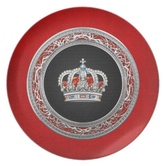 200 Prince-Princess King-Queen Crown Silver Party Plates