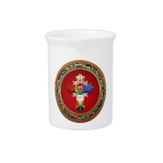 [200] Rosy Cross (Rose Croix) on Red & Gold Beverage Pitchers