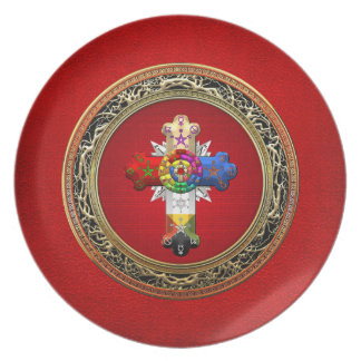[200] Rosy Cross (Rose Croix) on Red & Gold Dinner Plate