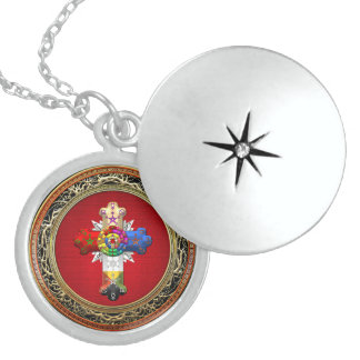 [200] Rosy Cross (Rose Croix) on Red & Gold Locket Necklace