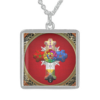 [200] Rosy Cross (Rose Croix) on Red & Gold Necklace