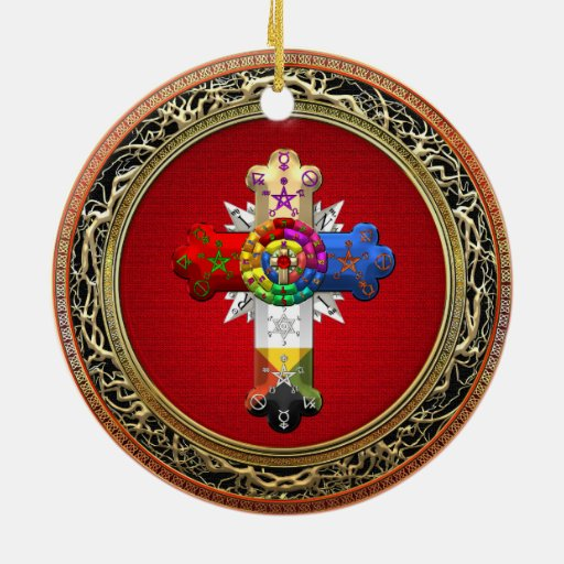 [200] Rosy Cross (Rose Croix) on Red & Gold Christmas Tree Ornaments