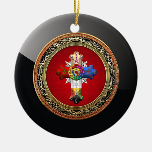 [200] Rosy Cross (Rose Croix) on Red & Gold Christmas Tree Ornament