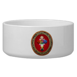 [200] Rosy Cross (Rose Croix) on Red & Gold Dog Food Bowls