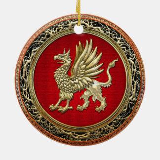 [200] Sacred Gold Griffin Ceramic Ornament
