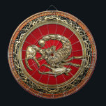 """[200] Sacred Golden Scorpion on Red Dartboard With Darts<br><div class=""""desc"""">Introducing """"Treasure Trove 3D"""" Collection by C.7 Design Studio. Here you will find customizable products, featuring a Sacred Golden Scorpion on Red. Scorpions are predatory arthropod animals of the order Scorpiones within the class Arachnida. They have eight legs and are easily recognized by the pair of grasping claws and the...</div>"""