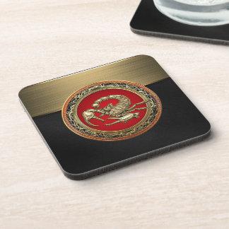 [200] Sacred Golden Scorpion on Red Drink Coaster
