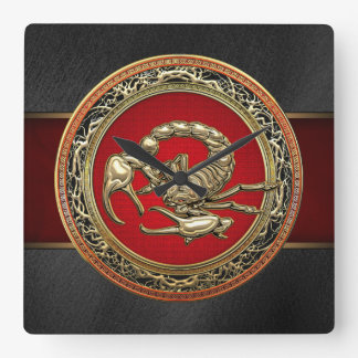 [200] Sacred Golden Scorpion on Red Square Wall Clocks