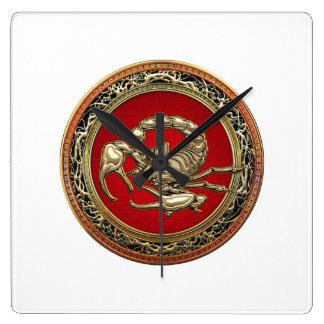 [200] Sacred Golden Scorpion on Red Square Wallclock