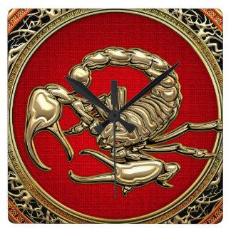 [200] Sacred Golden Scorpion on Red Square Wallclocks