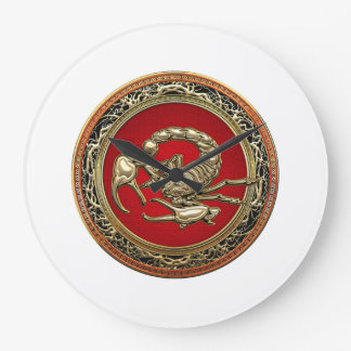 [200] Sacred Golden Scorpion on Red Wall Clocks
