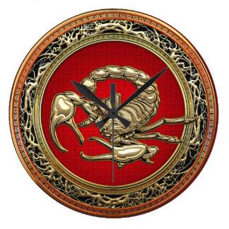 [200] Sacred Golden Scorpion on Red Wallclock