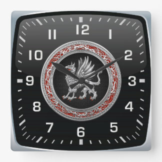 [200] Sacred Silver Griffin Square Wallclocks