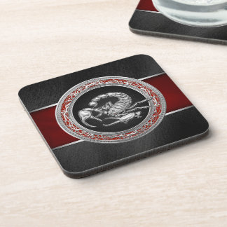 [200] Sacred Silver Scorpion on Black Beverage Coaster