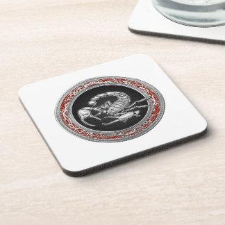 [200] Sacred Silver Scorpion on Black Coaster